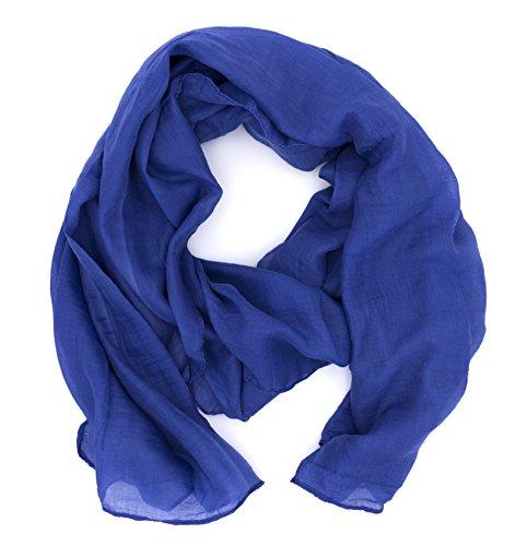 DOLCE ABBRACCIO by RiemTEX WILD CAT Damen Schal Halstuch Tuch aus Chiffon für Frühling Sommer Ganzjährig (Blau)