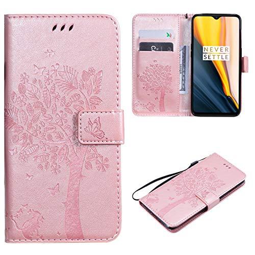 Cofola HTC One M8 / M8S Hülle, Prägung Baum und Katze Wallet Schutzhülle Case Cover für HTC One M8 / M8S [Rose Golden]