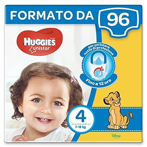 Huggies Unistar Pannolini, Taglia 4 (7-18 kg), Confezione da 96 pannolini