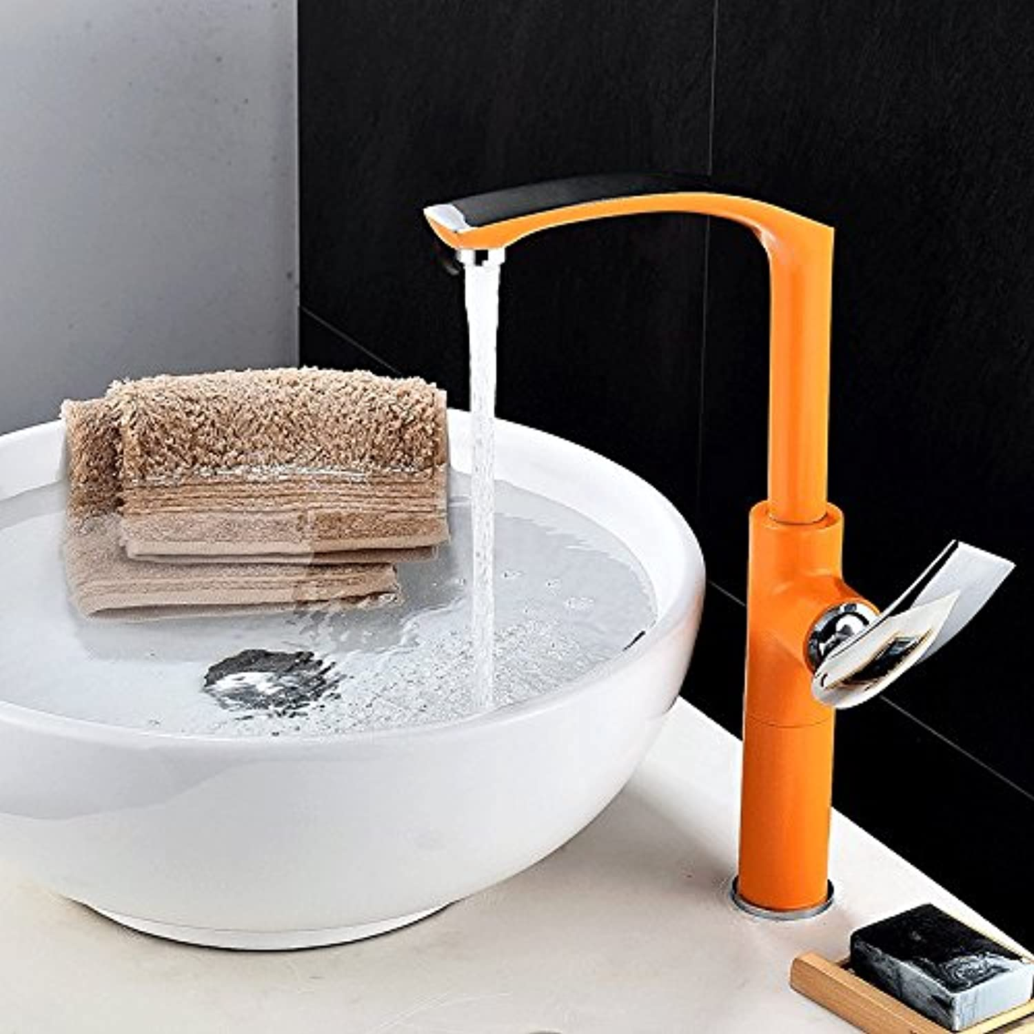 Lpophy Bathroom Sink Mixer Taps Faucet Bath Waterfall Cold and Hot Water Tap for Washroom Bathroom and Kitchen Hot and Cold Paint orange
