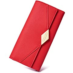 This Wallet made of high quality soft PU Leather,it's durable and the touch feeling is very comfortable, durable zipper hardware,button closure,safe and easy to use. Internal Space: This women wallet has 9 card slots, 2 main cash/checkbook pocket, 1 ...
