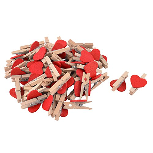 sourcing map Vêtements Photo Carte Coeur Amour Artisanat en Bois Mini Pinces à Ressort 50pcs Clip Rouge
