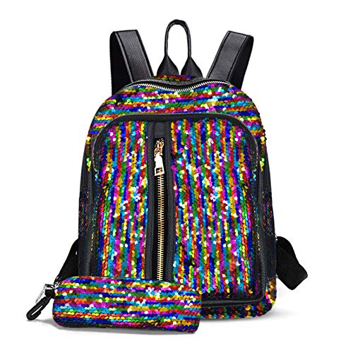 Fmeida Mini Sequin Backpack for Girls Colorful Glitter Backpacks for Women Teens Magic Flip Reversible Shoulder Bag (Rianbow)
