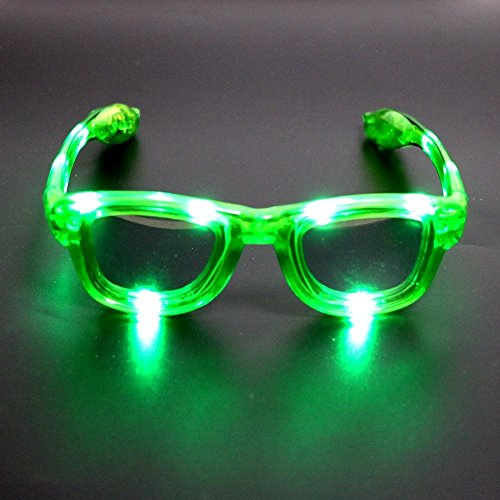 Atcket (Gr¨¹n LED blinkt Sonnenbrille in 4 Unisex f¨¹r Erwachsene und Kinder / LED leuchten Gl?Ser f¨¹r Party