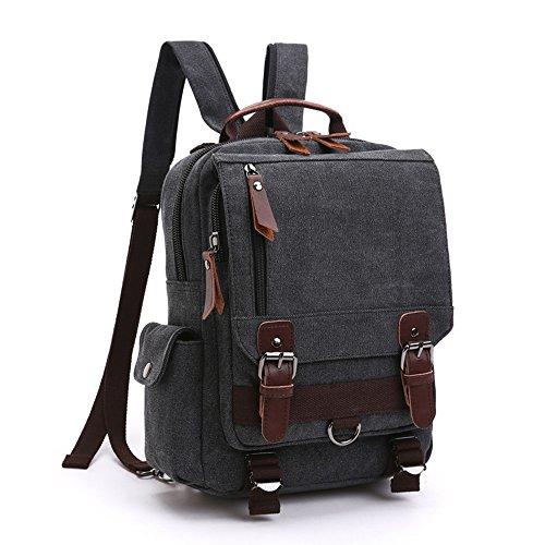 LOSMILE Zaino Uomo donne Zaini Tela Zainetto Borsa a Tracolla Borsa di Tela Sacchetto del Messaggero Sacchetto di Messenger bag Backpack. (Nero)