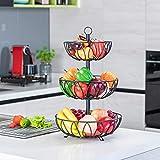 Rice rat 3-Tier Fruit Bowl Metal Wire Fruit Basket Bread Vegetable Organizer Storage Organizer Black Cast Iron
