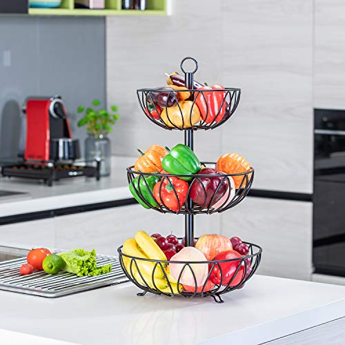 Rice rat 3-Tier Fruit Bowl Metal Wire Fruit Basket Bread Vegetable Organizer Storage Organizer Black Cast Iron