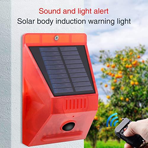 6SHINE Solar-Alarm-Licht mit Fernbedienung, Solar-Stroboskop-Licht mit Bewegungsmelder, 129 db Sound-Sicherheits-Sirene, wasserdicht für Zuhause, Bauernhof, Scheune, Villa, Hof