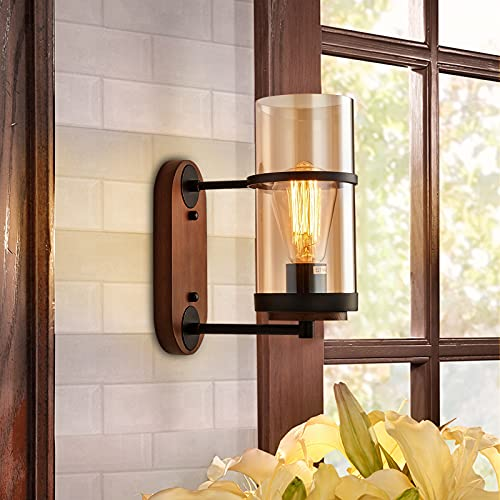 Vintage Wall Light Industrial Lighting with Antique Glass Shade, Wooden Wall Lamp, Rustic Wall Sconce, Industrial Wall Sconce for Living Room Dining Room