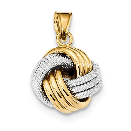 14k Two Tone Yellow Gold Textured Love Knot Pendant Charm Necklace Fancy Fine Jewelry For Women Gifts For Her