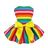 Fitwarm Rainbow Pet Clothes Dog Dresses Vest Shirts Sundress Small