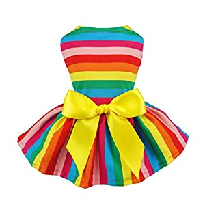 Fitwarm Rainbow Pet Clothes Dog Dresses Vest Shirts Sundress