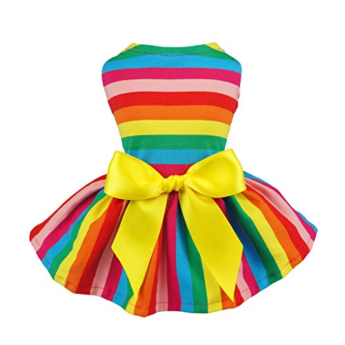 Fitwarm Rainbow Pet Clothes Dog Dresses Vest Shirts Sundress Large