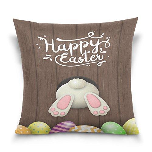 ALAZA Happy Lapin et Oeufs de pâques Peinture carré Coton Housse de Coussin Throw Taille Taie d'oreiller Canapé Chambre à Coucher Home Decor Bon Cadeau pour Pâques 40,6 x 40,6 cm, Coton, 41 x 41 cm