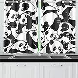 QIAOLII Dessin Animé Jeunes Pandas Très Cuisine Rideaux Fenêtre Rideau Niveaux pour Café, Bain, Blanchisserie, Salle De Séjour Chambre 26 X 39 Pouce 2 Pièces