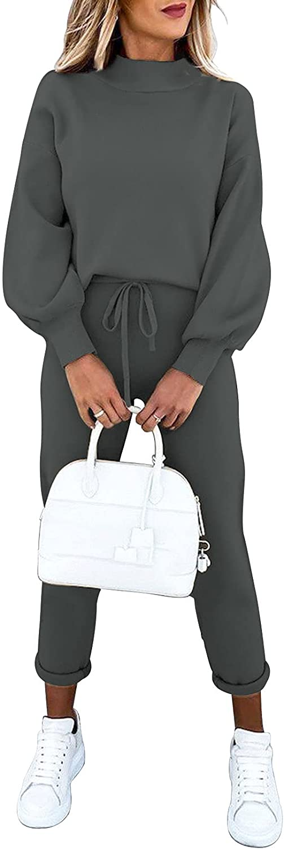 Fixmatti Women's 2 Piece Outfits Long Sleeve Pullover Sweatshirt Jogger Pants Sweatsuit