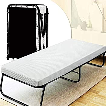 Quictent Heavy Duty Folding Bed with 2 Extra Support Belts 300 lbs Max Weight Capacity Guest Bed with 3D Stretch Knit Material Cover Mattress and Storage Bag