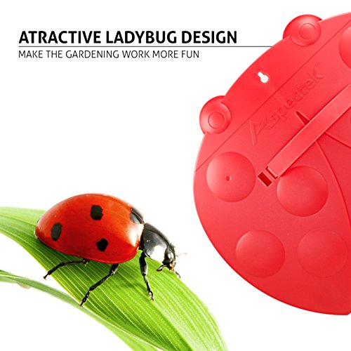 GardenHOME Garden and Yard Leaf Scoops Hand Rakes, Large Leaf Grabber with Leaf Claws for Easy Pick Up, Ladybug-Shaped (Red)