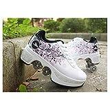 LIUCHANG Roller Skates Schuhe mit Multifunktions Deformation Quad Skate Roller Skates Skating Outdoor Sports Schuhe for Erwachsene, Schwarz-35 liuchang20 (Color : White, Size : 38)