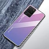 Compatible con Funda Samsung Galaxy S20 Ultra Carcasa Trasera Case Vidrio Templado Degradado Color Cubierta Ultradelgado Anti-Rasguño Funda Protección 360 Grados Rígido Dura Bumper,Rosado Morado