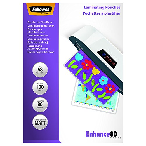 Fellowes 5452001 matte Laminierfolien Enhance 80 Mikron, DIN A3 (100er Pack)
