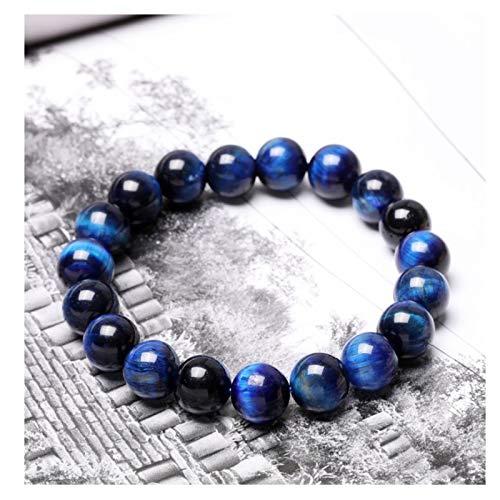 Pulsera de cristal de ojo de tigre azul, pulsera de cuentas de piedras preciosas de ojo de tigre natural, regalo curativo de protección de equilibrio energético de chakra elástico