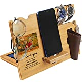 Valentine's Day Gift for Him - Wood Phone Docking Station for Men Personalized - Anniversary Gifts for Husband Boyfriend - Birthday Idea for Dad, Son, Grandpa, Uncle