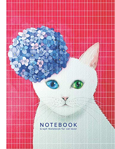 Notebook : Graph Notebook, For Cat Lover: Flower Cat Watercolor Cover, Quad Grid Ruled 5 squares per inch. Soft Matte Cover, 8.5*11 inch(Letter Size),100 pages.