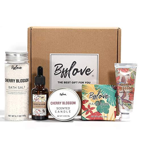 Bad-und Körpergeschenkset, Kirschblüten-Spa-Geschenkbox für Frauen, Auswahl 5-teilige Spa-Geschenksets für Damen mit Badesalz, Handcreme, Seife, Massageöl und Duftkerze. Tolle Geschenkideen für Frauen