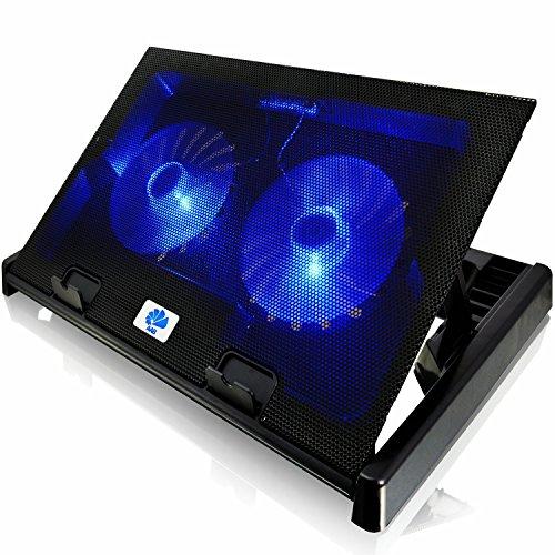 AABCOOLING NC80 - Notebook Stand mit 2 Lüftern, Einstellbare Neigung und Blau Beleuchtung, Lüfter, Kühler, Notebookständer für Laptops bis 17 Zoll und PS4 PRO / XBOX Consolen, Laptop Halterung