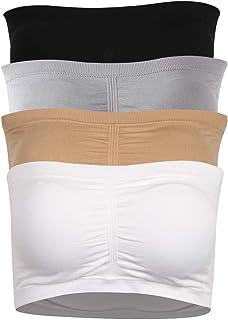 Somewell Women's Bandeau Bra, Strapless Basic Layer Tube Top Padded Seamless Bra