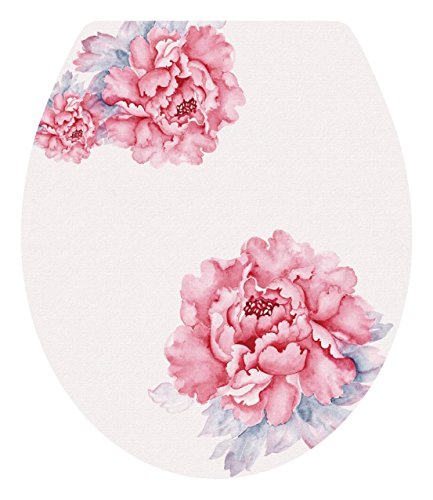 DNVEN 13 inches x 15 inches Pink Bloom Peony Floral Flowers Bathroom Toilet Seat Lid Cover Decals Stickers