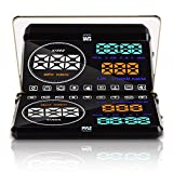 Heads Up Display HUD Screen - Universal 5.5'' Car Head-Up Windshield Monitor Screen Projector, Vehicle Speed and Diagnostic Monitor System, Plug and Play, Water Temp, Voltage, Fuel Indicator - Pyle
