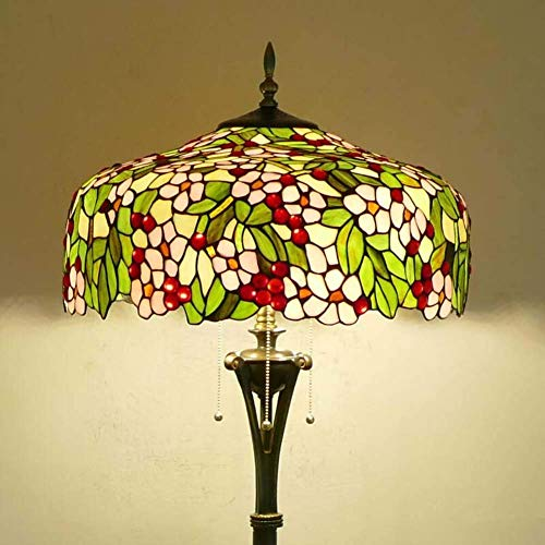 Tiffany Style Floor Lamp,Vintage Stained Glass Floor Uplighter,18 Inch Wide 65 Inch High,Retro Reading Floor Lights for Living Room, Bedroom, Office, E27,Decor Standing Lamp,C (Color : 1)