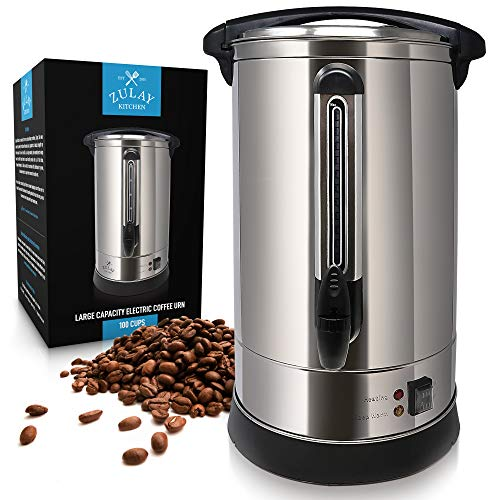 Zulay Premium Commercial Coffee Urn - Stainless Steel Large Coffee Dispenser for Quick Brewing - Automatic 100 Cup Capacity - Ideal for Large Crowds - Perfect for Any Occasion