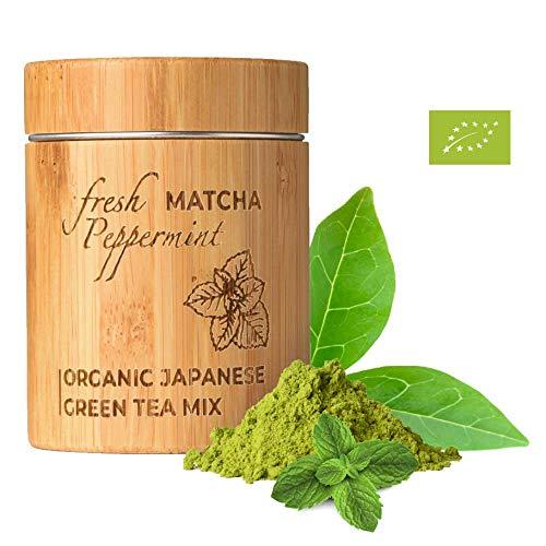 MATCHITA - Té Verde Matcha Menta Orgánico en Polvo | 100% EU-BIO | Grado Más Alto | Bebida Japonesa de Grado Ceremonial | Bebidas Frías y Calientes | Contenedor de Bambú | 30g