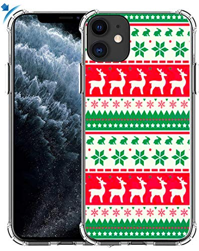 Case for iPhone 11 Christmas & MUQR Gel Silicone Slim Drop Proof Protection Cover Compatible for iPhone 11 & Silicone Xmas Christmas Design Theme Reindeer Holiday