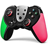 TERIOS Wireless Controller for Nintendo Switch – Premium Joypad for Video Games – Remote Joystick for Gamers – 3 Levels of Turbo Speed – NFC Technology–Adjustable Vibration Intensity (Green & Pink)
