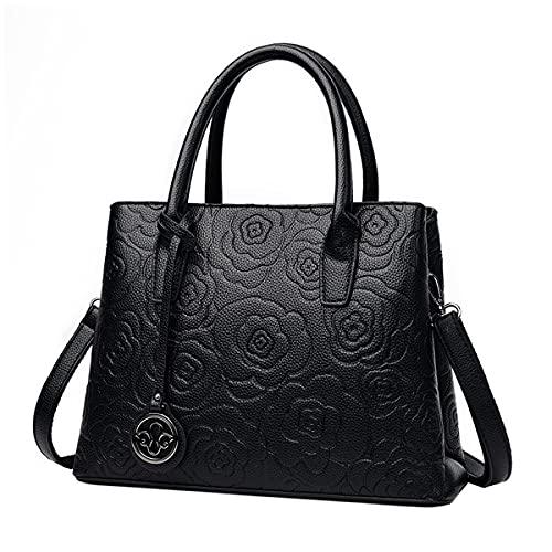 Tisdaini Damenhandtaschen Mode Hohe Kapazität Druckprozess Doppelschicht Henkeltaschen Schultertaschen Schwarz