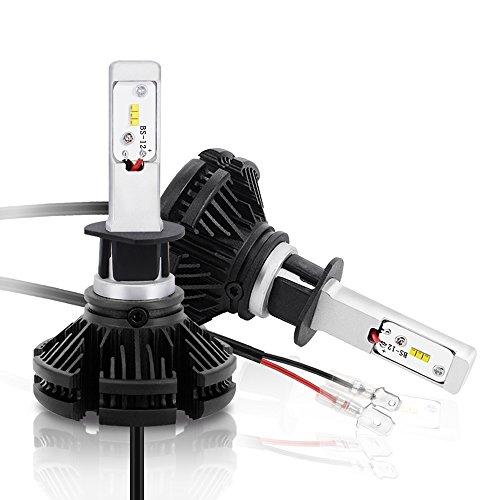 Mesllin LED-koplamp H1 50W 12.000LM ZES-chips Canbus LED-lampen 6500K Zuiver wit halogeen vervangingsconversiekit voor voertuigen (H1)