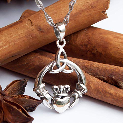 925 Sterling Silver Irish Claddagh Necklace with 18' Inch Chain-Trinity Celtic Knot Pendant-Hands Holding Heart Crown Charm- Endless Love Symbol-Handmade Jewelry for Women Girls