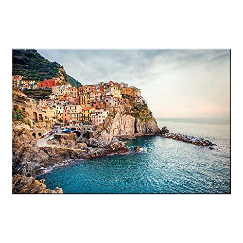 VVBGL Italia Cinque Terre Manarola Sea Travel Poster Lienzo mediterráneo Arte de la Pared Pintura Inicio Salon de Estar Dormitorio Decoracion de la Pared Cuadros 80x120cmx1 Sin Marco