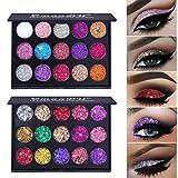 ARTIFUN 15 Colores Paleta de Sombra de Ojos cosmética maquillaje Brillo Brillante Ojos Sombra Paleta Glitter Metalic Eye Shadow (#2)