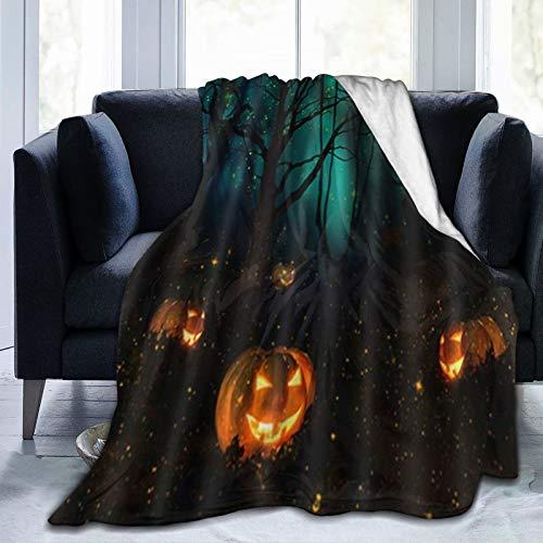 ELIENONO Manta De Tiro De Lana Suave,Halloween Pumpkin Forest Trees Firefly,Home Hotel Sofá Cama Sofá Mantas para Parejas Niños Adultos,120x150cm