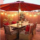Abba Patio 11 ft Solar Lights Patio Offset Hanging Umbrella Cantilever Umbrella with Easy Tilt & Cross Base for Garden, Deck, Backyard, Pool, Red