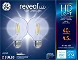 GE Reveal HD+ 40W Replacement LED Light Bulbs, 2-Pack, Clear, Decorative, Globe, Dimmable LED Light Bulbs, Medium Base, G25