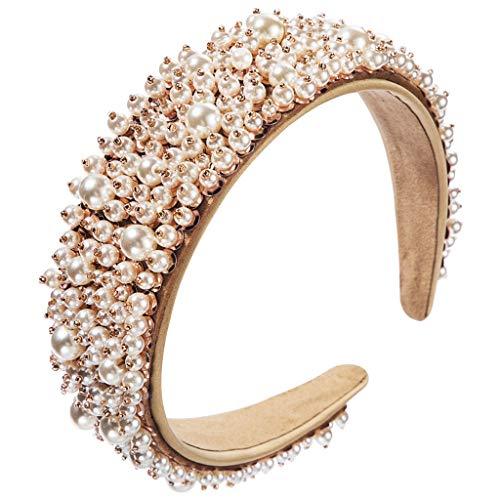 Abcidubxc - Diadema para mujer, estilo barroco, vintage, perlas, accesorio para la cabeza
