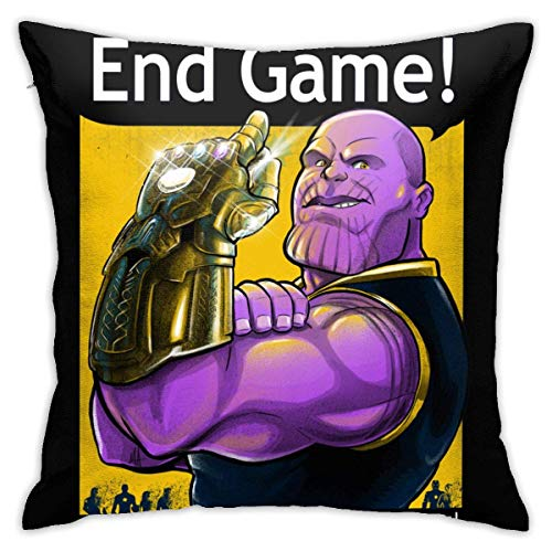 KOTHER Throw Pillow Covers Soft Square Throw Pillow Case Home Decorative for Bed Couch Sofa Farmhouse Cushion Cover Both Sides - End Game with Infinity Gauntlet Kissenbezüge 20x20Inch(50cmx50cm)