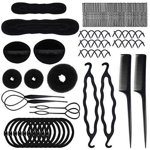 Yucool Lot de 70 accessoires de coiffure pour chignon magique Outil de tresse pour bricolage clip bigoudi rouleau torsadé pour filles et femmes
