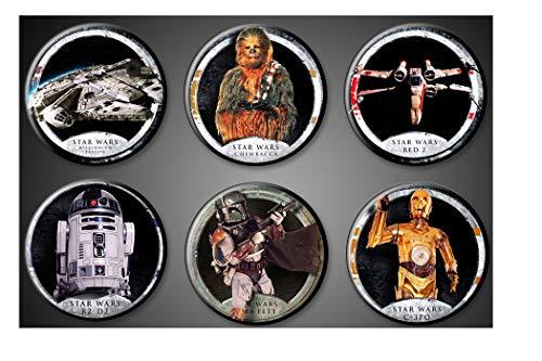 Original Star Wars Magnets Fridge Set of 6 1 inch round Chewie Chewbacca Wookiee R2-D2 C-3PO Millenium Falcon Boba Fett Bounty Hunter Red 2 Fighter Plane